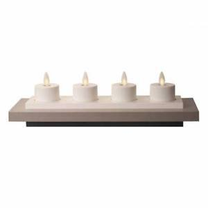 Luminara 4 Rechargeable Tea Lights with Base - Unscented White - 1 set