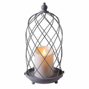 "15"" Luminara® Outdoor Bird Cage Lantern with 5"" White Unscented Pillar Candle"