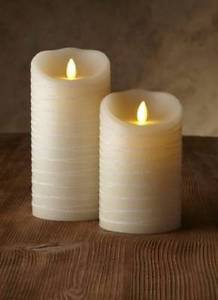 "Luminara Flameless Candle -3.5""Dia. Spun Glitter Ribbon Pillar - Ivory Unscented"