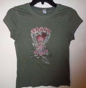 Juniors Green Toppy Heart Feather Wings Shirt Size Medium