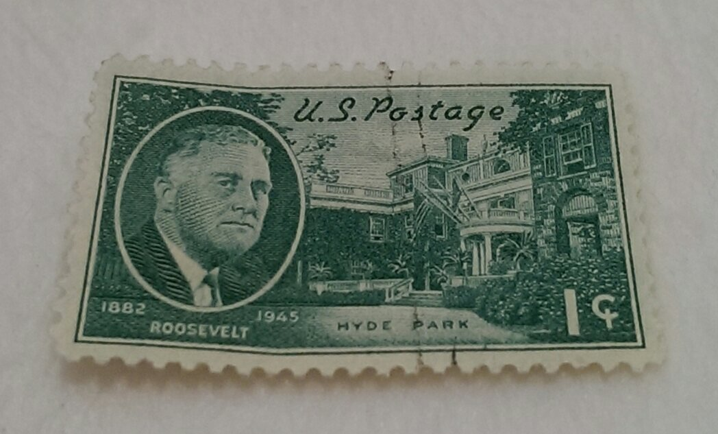 Green One Cent U S Postage Roosevelt Stamp Hyde Park