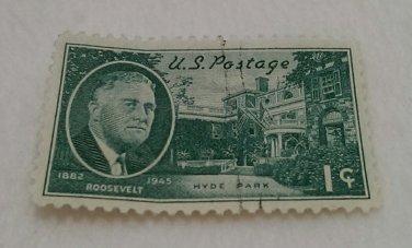 Green One Cent U.S. Postage Roosevelt Stamp, Hyde Park 1882-1945