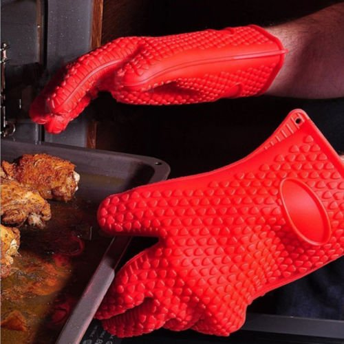 KITNEWER Heat Resistant Kitchen glove Thick barbecue grilling glove Silicon