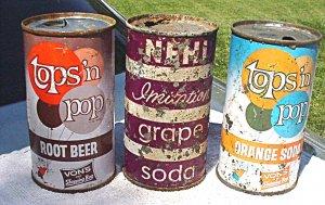 3 dumper flat top soda cans - Nehi and Tops 'n pop