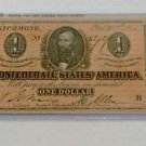Vintage Reprint Confederate States Of America $1 Banknote One Dollar 1864