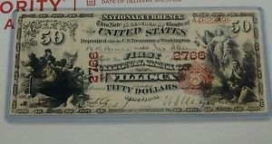 Vintage Reprint $50 Fifty Dollars Series 1875 National Bank Note Currency