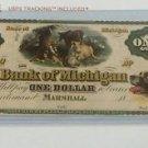 Vintage Reprint One Dollar Bank Of Michigan 1836 Wildcat Banknote $1