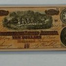 Vintage Reprint Confederate States Of America $10 Banknote Ten Dollars 1864