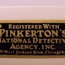 Pinkerton's National Detective Agency Bicycle Registration Decal