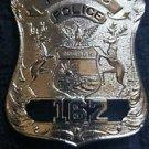 Obsolete Style PONTIAC Michigan Police PATROLMAN Breast Pin Back Badge DEFUNCT