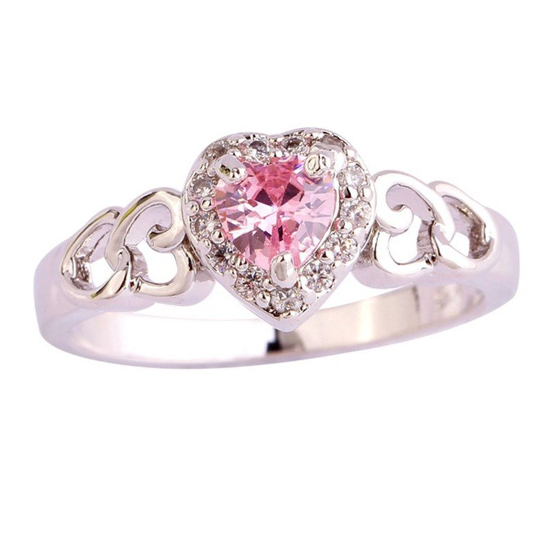 Pink Heart Silver Filgree Ring Size 10