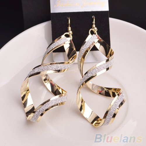 Gold Swirl Dangle Earrings