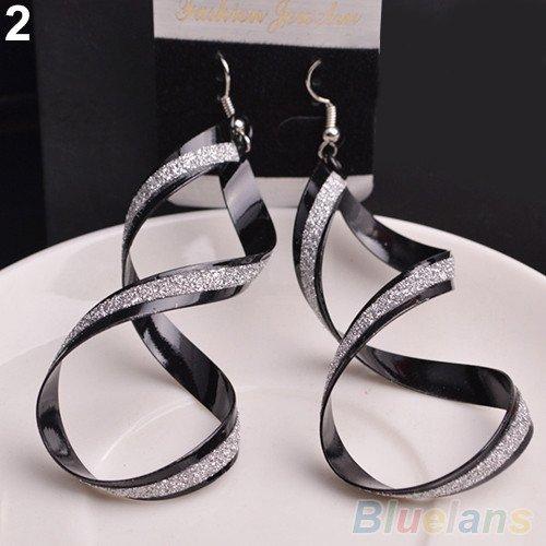 Black Swirl Dangle Earrings