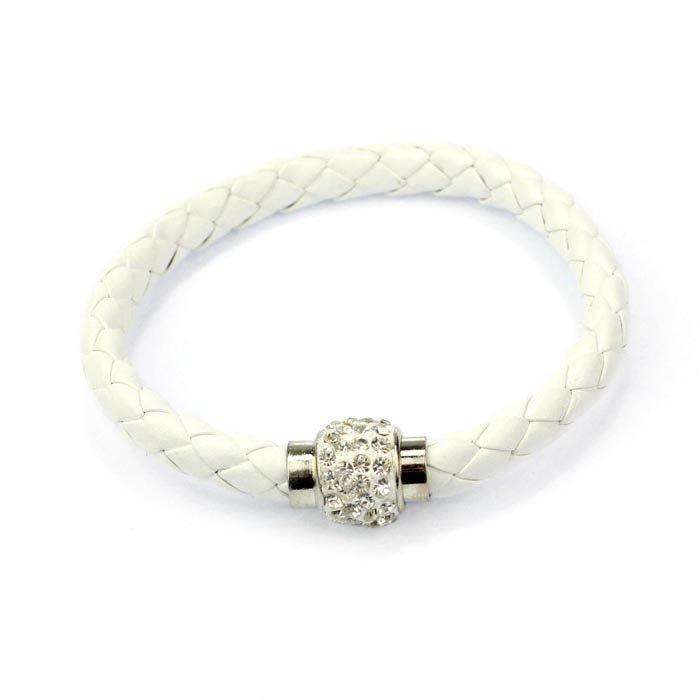 White Magnetic Cord Bling Bracelet