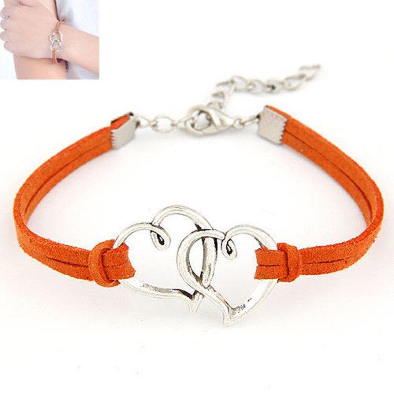 Burnt Orange Double Heart Strap Bracelet