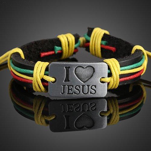 I Love Jesus Multi Color Leather Bracelet