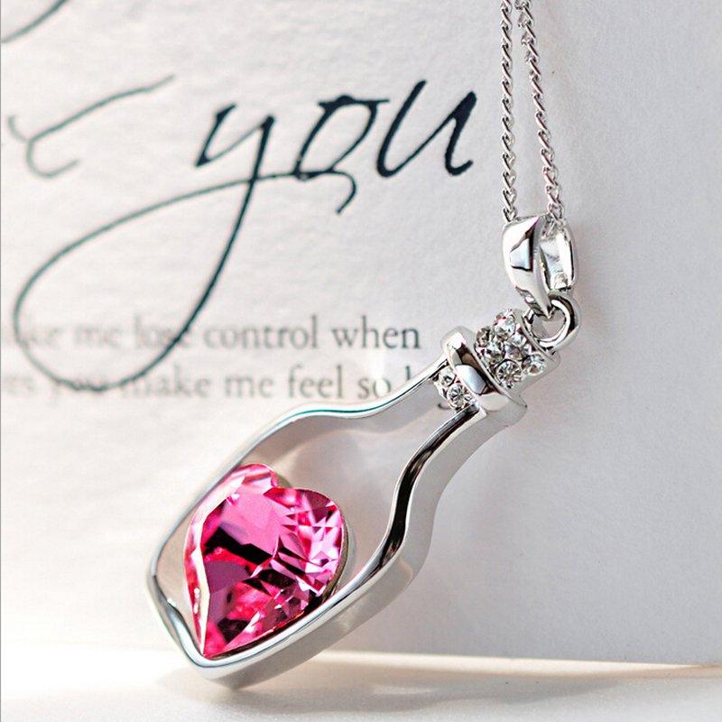 Pink Heart Silver Bottle Necklace