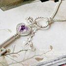 Silver Purple Key Necklace