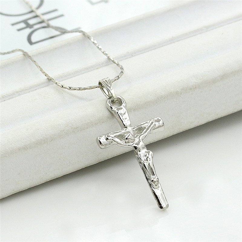 Silver Cross Crucifix Necklace