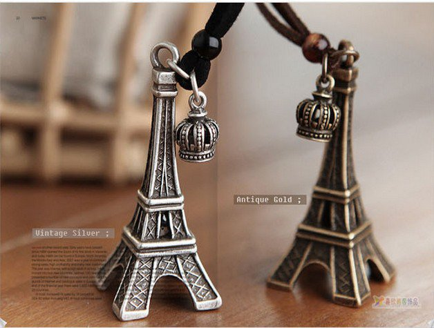 Black/Silver Effiel Tower Rope Necklace