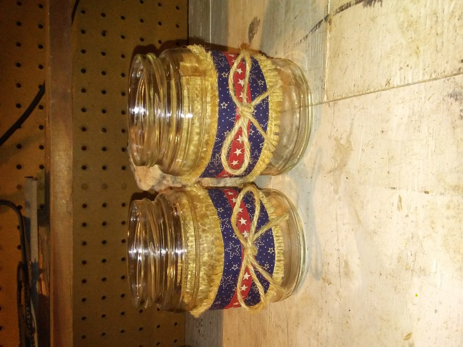 Mason jars with burlap