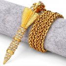 Hip Hop Fashion Gold Plated Crystals Dart Pendent Necklace