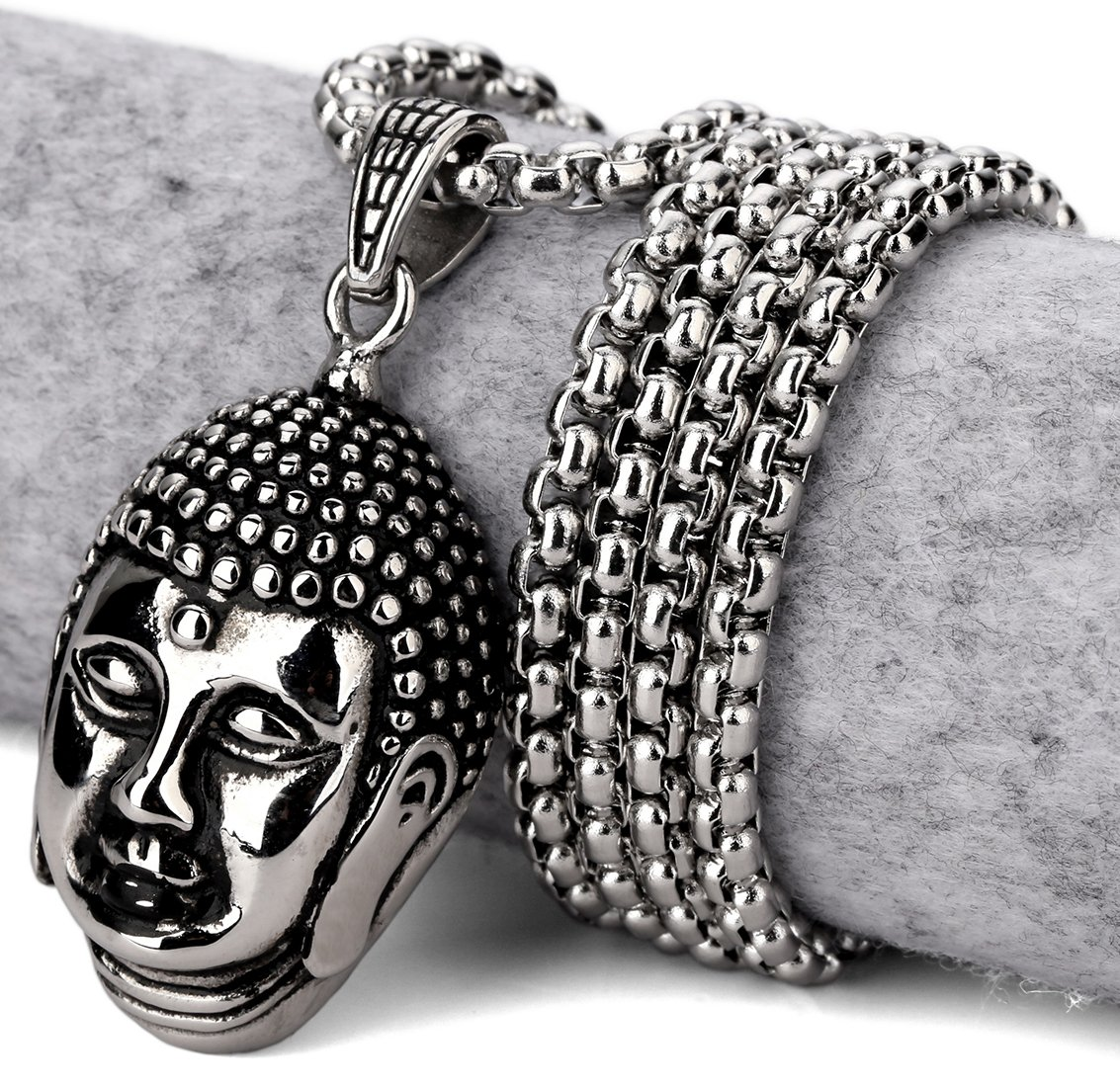 Hip Hop Fashion Steel Buddha Pendent Necklace