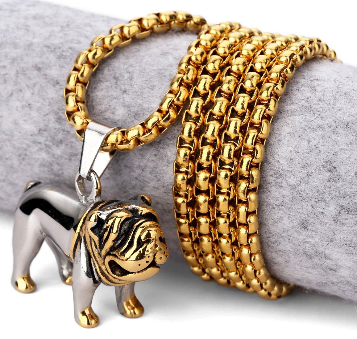 Hip Hop Fashion Steel Gold-Silver Mastiff  Pendent Necklace