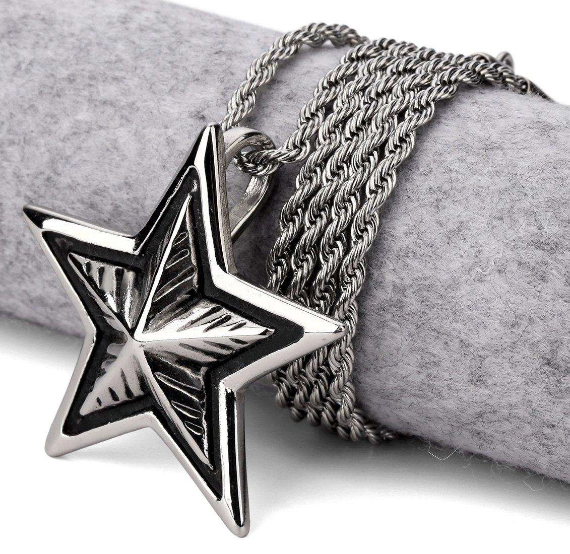Hip Hop Fashion Steel Epoxy Pentagram  Pendent Necklace