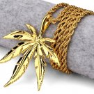 Hip Hop Fashion Gold Plated Gold Color Hemp Pendent Necklace