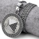 Hip Hop Fashion Gold Plated Silver Color Crystals Pyramid Coins Pendent Necklace