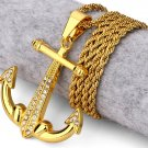 Hip Hop Fashion Gold Plated Crystals Anchor Pendent Necklace