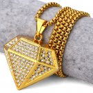Hip Hop Fashion Gold Plated Crystals Diamond Pendent Necklace