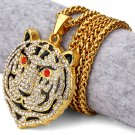 Hip Hop Fashion Gold Plated Color Crystals Tiger Pendent Necklace