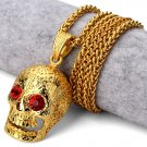 Hip Hop Fashion Gold Plated Crystals Skull Pendent Necklace