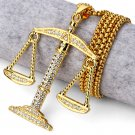 Hip Hop Fashion Gold Plated Crystals Scale Pendent Necklace