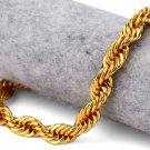 Hip Hop Fashion Gold Plated 20cm x 0.8cm Fried Dough Twist Bracelet