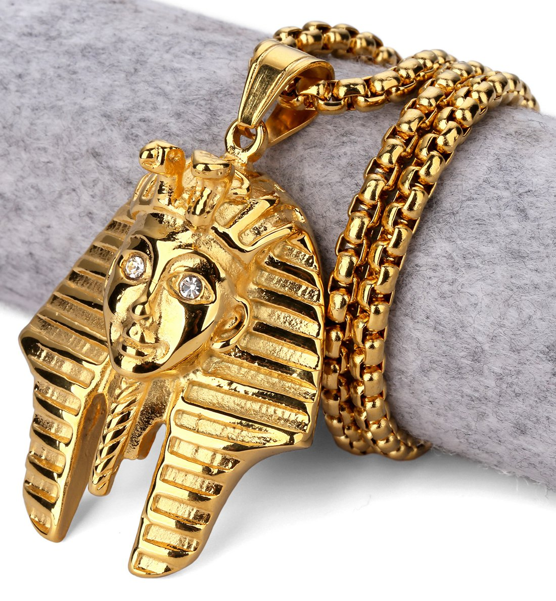Hip Hop Fashion Steel Gold Pharaoh Pendent Necklace
