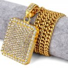 Hip Hop Fashion Gold Plated Large Size Crystals Gold Square Pendent Necklace