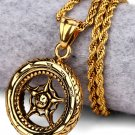 Hip Hop Fashion Steel Gold Wheel Pendent Necklace