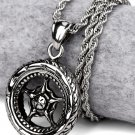 Hip Hop Fashion Steel Silver Wheel Pendent Necklace