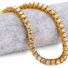 Hip Hop Fashion Gold Plated 78cm x 0.5cm Crystals Gold Necklace