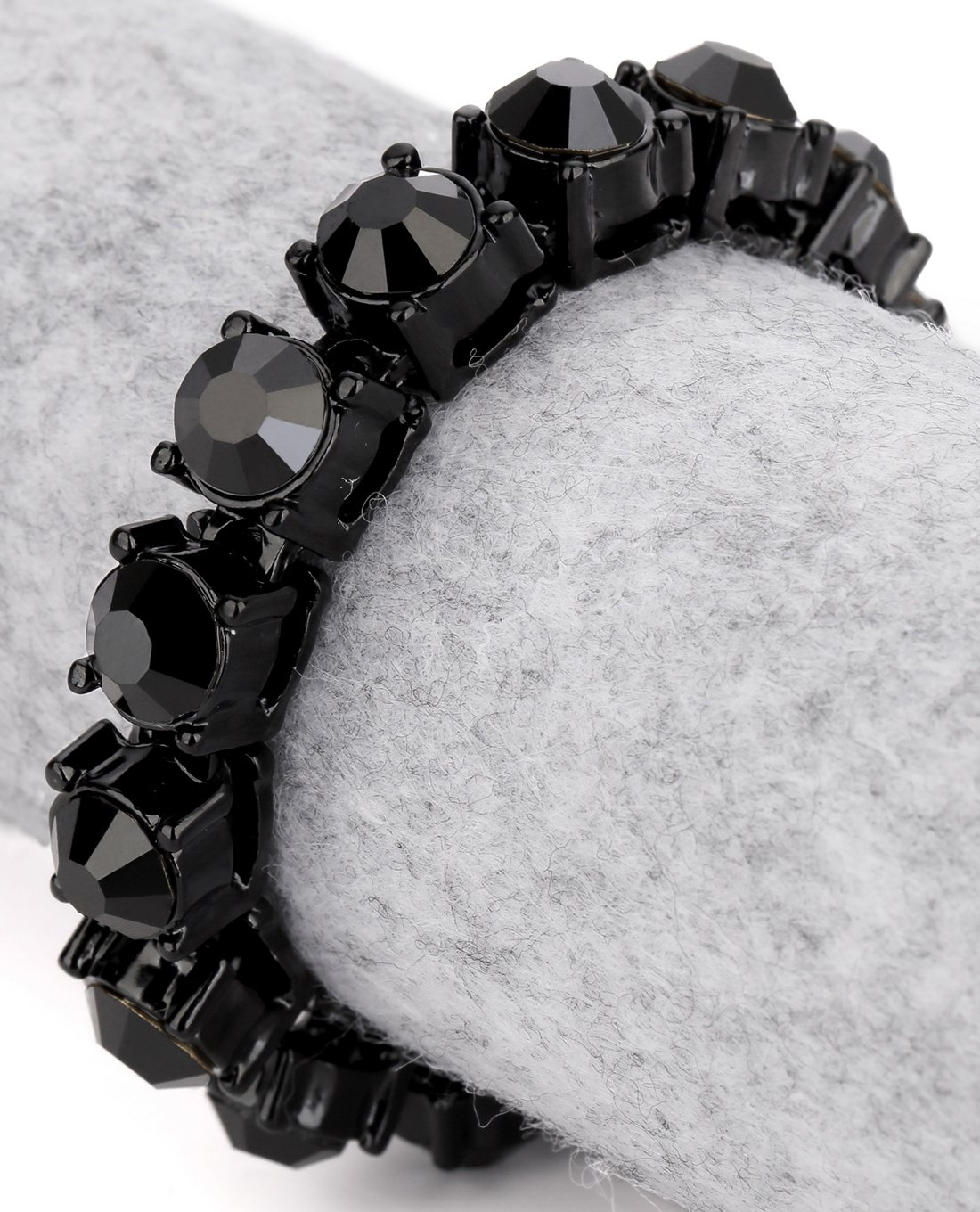 Hip Hop Fashion Gold Plated 20cm x 0.8cm Crystals Black Bracelet