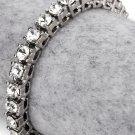 Hip Hop Fashion Gold Plated 20cm x 0.5cm Crystals Silver Bracelet