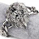 Hip Hop Fashion Steel Silver 3D Lion Bracelet