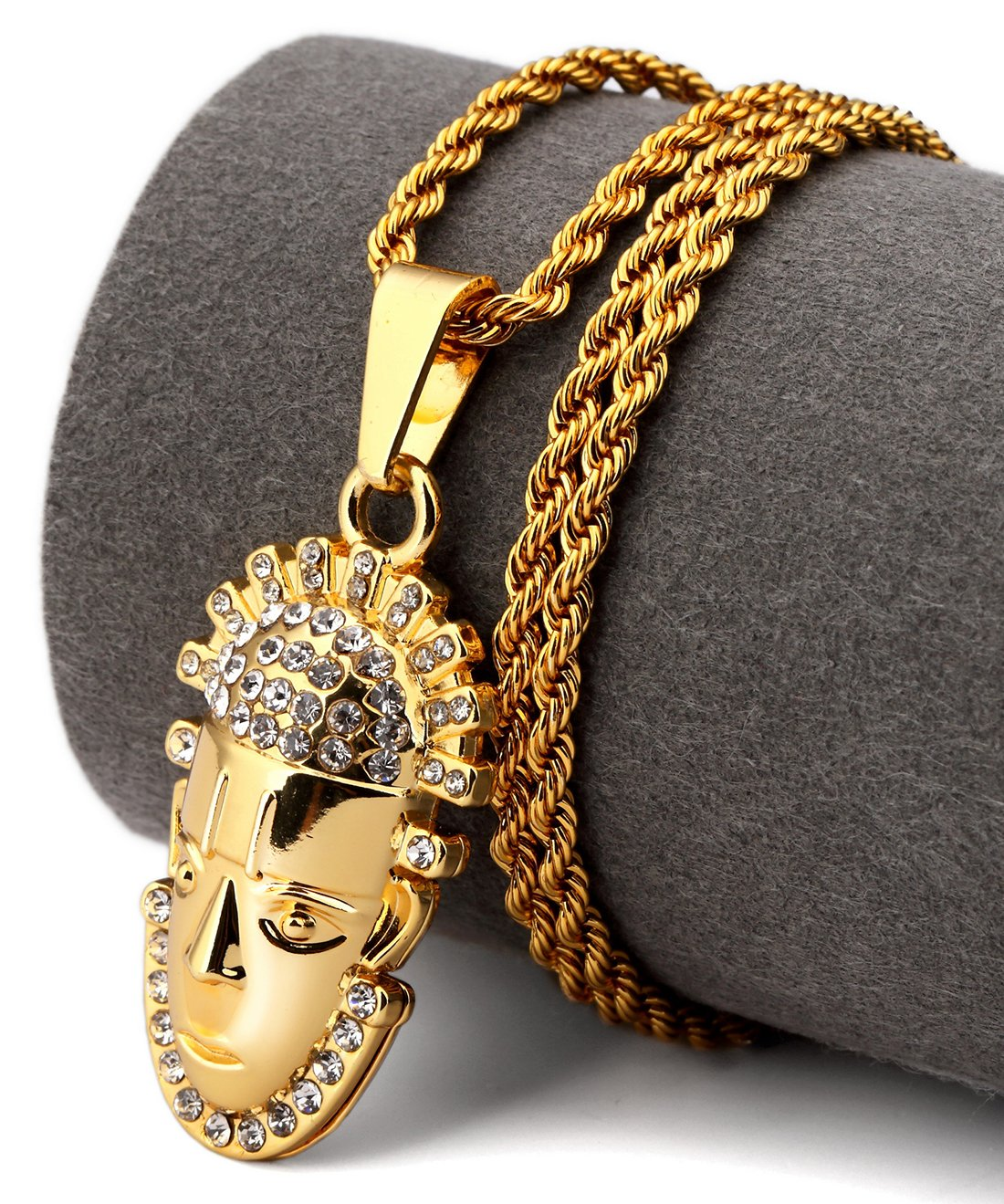 Hip Hop Fashion Gold Plated Crystals Gold Chief Pendent Necklace