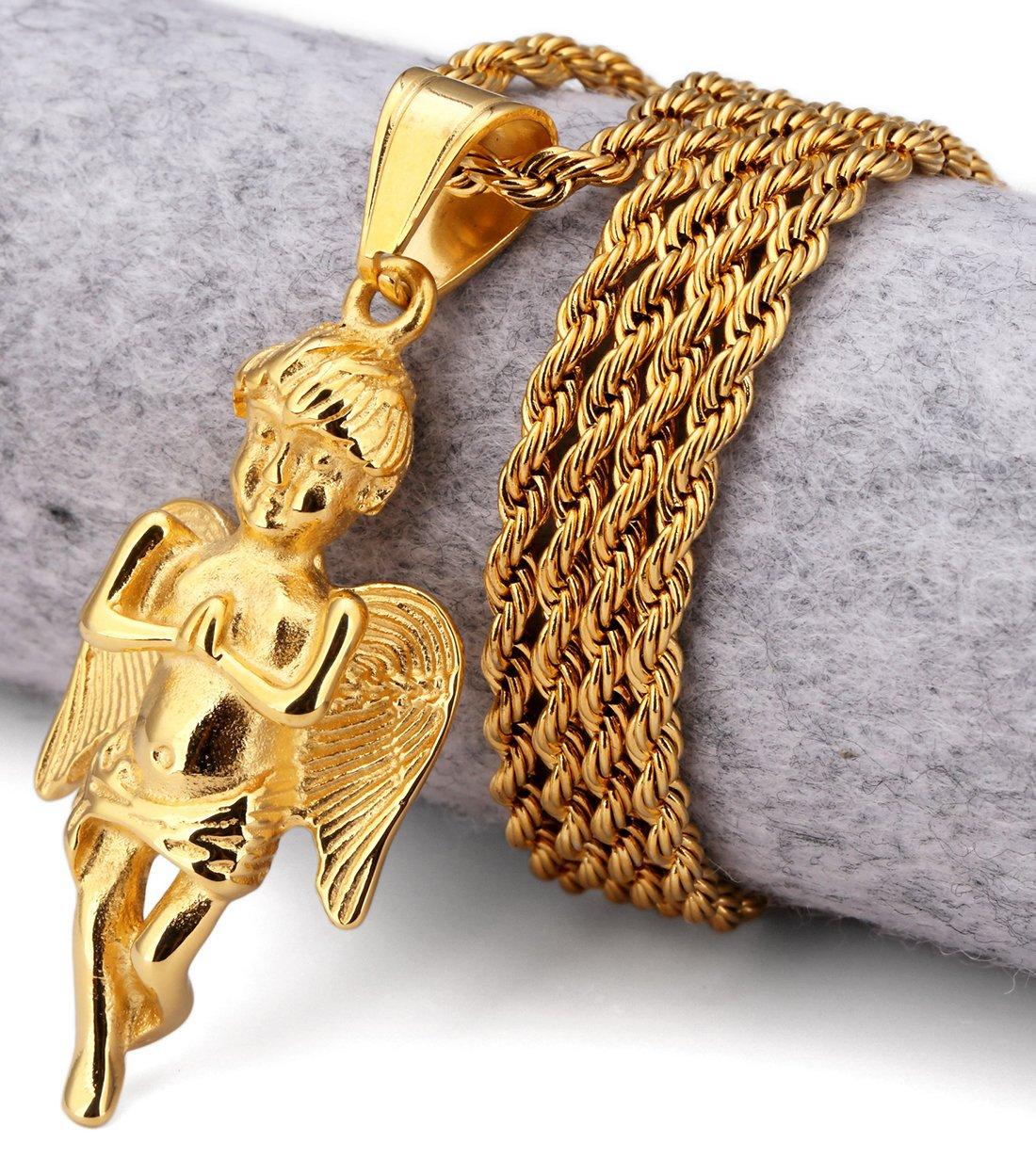 Hip Hop Fashion Steel Angel Pendent Necklace