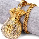 Hip Hop Fashion Steel Crystals Money Bag Pendent Necklace