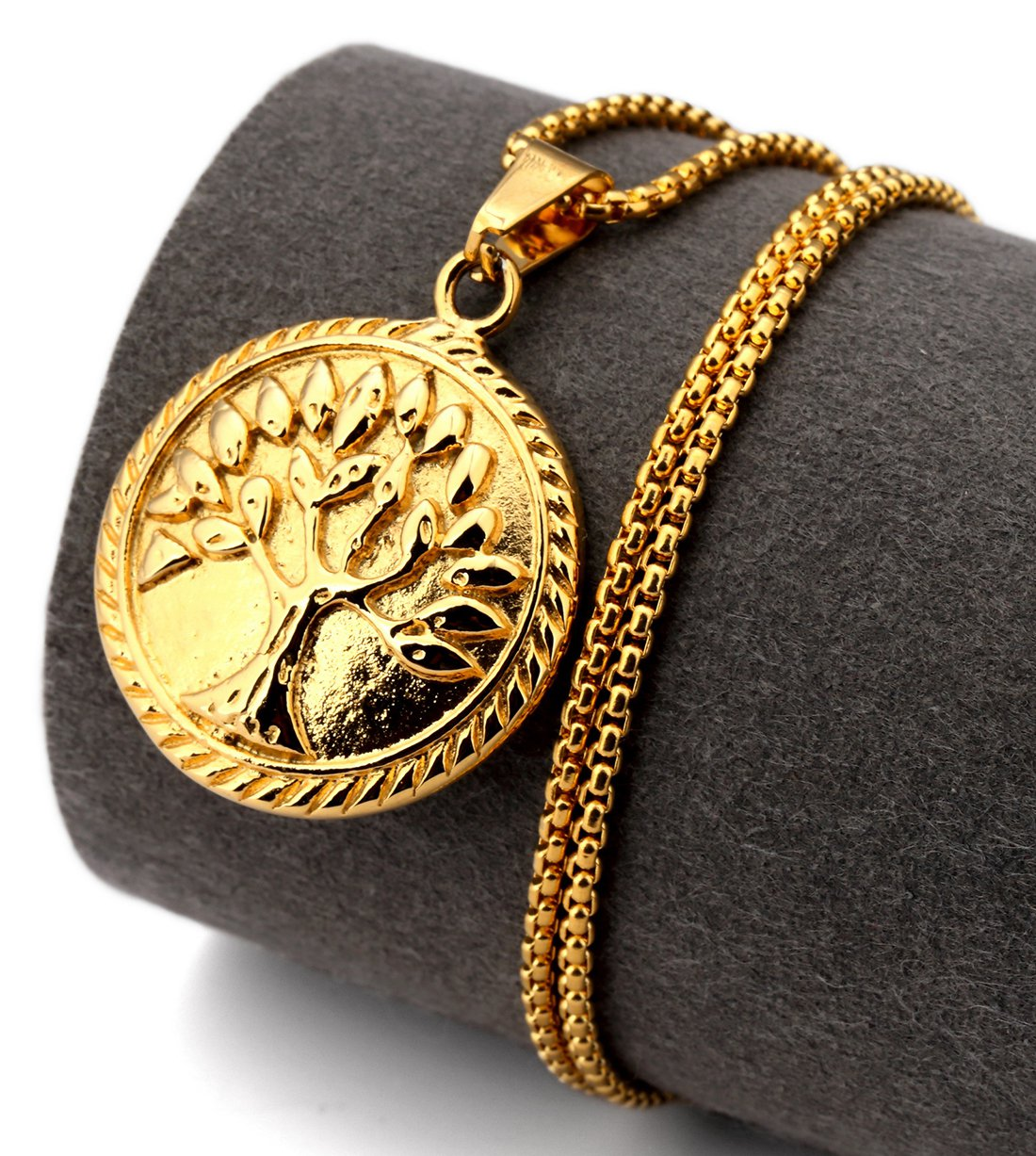 Hip Hop Fashion Steel Gold Tree of Life Pendent Necklace