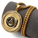 Hip Hop Fashion Steel Crystals Freemasonry Coins Pendent Necklace